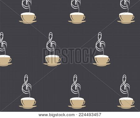 Seamless pattern with Cappuccino cup and steaming music treble clef on black coffee style background. Vector EPS 10 illustration