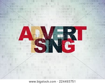 Advertising concept: Painted multicolor text Advertising on Digital Data Paper background