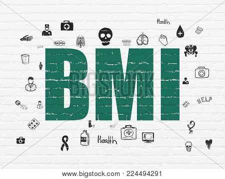 Health concept: Painted green text BMI on White Brick wall background with  Hand Drawn Medicine Icons