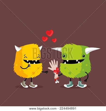 Funny cartoon monsters in love holding human arm as a gift. Funny and creepy cartoon illustration for Valentine`s Day