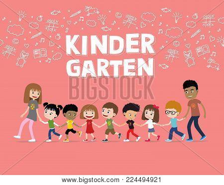Kindergarten or preschool children walking with teachers. Cartoon illustration of cheerful kids