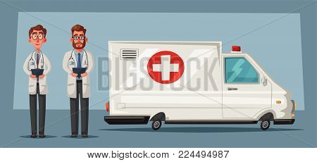 Ambulance car. Cartoon vector illustration. Emergency medical help. Online call. Team of paramedics. Good doctors in front of vehicle