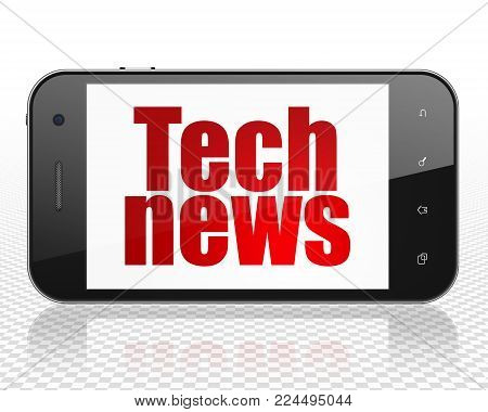 News concept: Smartphone with red text Tech News on display, 3D rendering