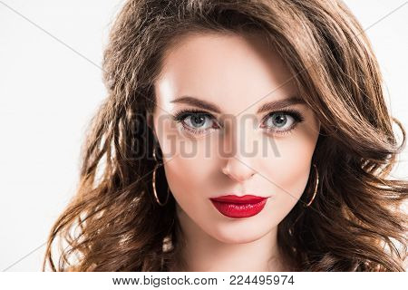 headshot of beautiful girl with makeup isolated on white
