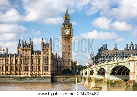 London city travel holiday background. Big Ben and Houses of parliament with Westminster bridge in London, England, Great Britain, UK.