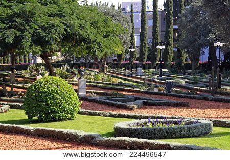 Bahai gardens in city Haifa in Israel