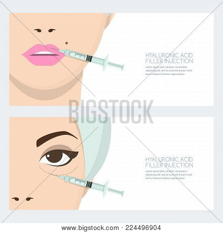 Hyaluronic acid facial injection, vector banner design template. Lips, eyes periorbital filler injection. Beauty, cosmetology, anti-aging concept. Female rejuvenating mesotherapy. poster