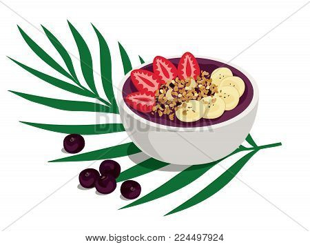 Power Summer Acai Bowl - Sweet and tropical açai fruit smoothie bowl with strawberries, banana and granola topping. A healthy breakfast over palm leaf with açai berries on the side. Isolated vector illustration.