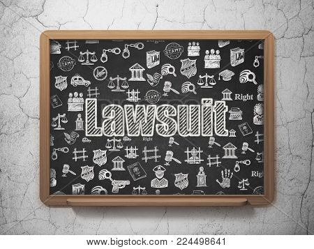 Law concept: Chalk White text Lawsuit on School board background with  Hand Drawn Law Icons, 3D Rendering