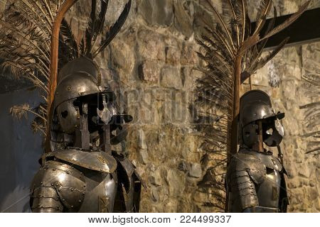 Winged hussar armor is the heavy cavalry of the Polish army (2nd half of the 17th century, steel, brass)