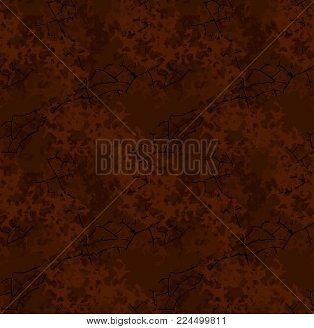 Brown mud camouflage is a seamless pattern with spots and cracks on dark background. Can be used for clothes in military style, army equipment, backdrop for a site or camo capes