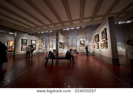 MOSCOW, RUSSIA - NOV 3, 2017: Room The Art of Holland of the 17th Century in the Museum of Fine Arts named by A.S.Pushkin. The 17th century was in Europe The golden age of painting.