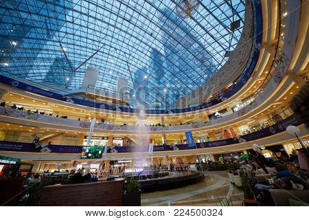 MOSCOW, RUSSIA - OCT 31, 2017: Afimall City shopping center in central core of Moscow-City international business complex. It has area of 283 182 sq.m.