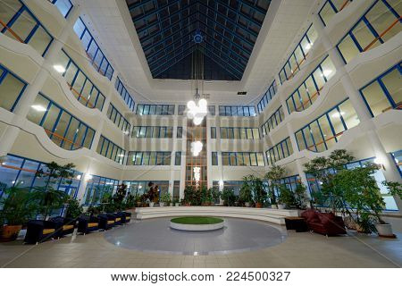 MOSCOW, RUSSIA - OCT 31, 2017: Inner yard of State Budgetary Educational Institution of the City of Moscow School 2107.