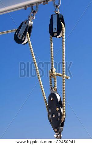 Rope On Blocks On Blue Sky