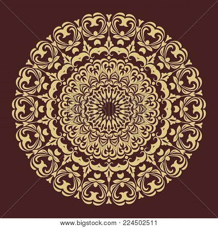 Oriental vector pattern with arabesques and floral elements. Traditional classic brown and golden round ornament. Vintage pattern with arabesques