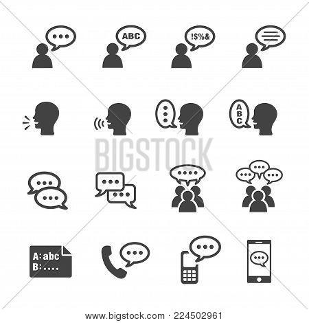 talking and conversation icon set vector illustration