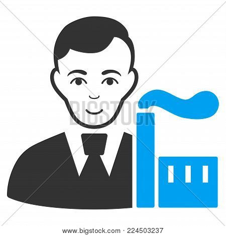 Capitalist Oligarch vector icon. Style is flat graphic bicolor symbol, blue and gray colors, white background.