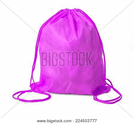 Drawstring pack template classic pink isolated on white