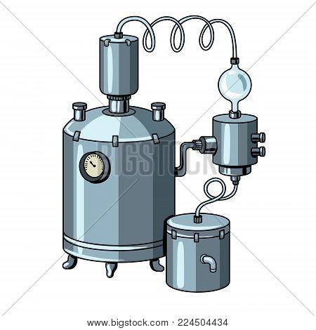 Alcohol distilling machine pop art retro vector illustration. Moonshine. Isolated image on white background. Comic book style imitation.