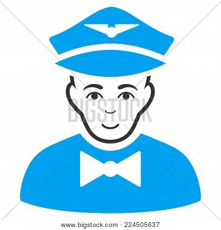Airline Steward vector pictograph. Style is flat graphic bicolor symbol, blue and gray colors, white background.
