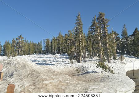 Sonora Pass Completely Snowy With Some Impressive Views Of Yosemite National Park. Nature Travel Holidays. June 29, 2017. Yosemite National Park. Mariposa California. USA. EEUU.
