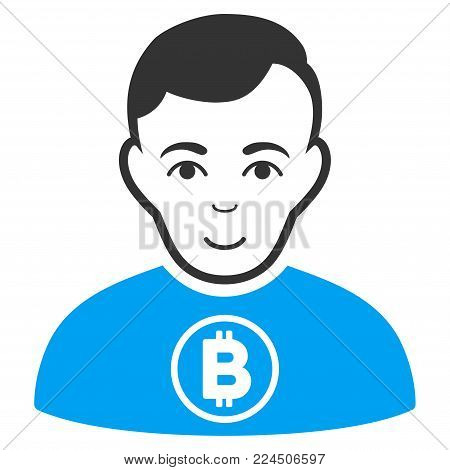 Bitcoin Man vector pictograph. Style is flat graphic bicolor symbol, blue and gray colors, white background.