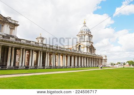 London, Uk - August 19, 2017 - Queen Mary & King William Building At Old Royal Naval College Greenwi