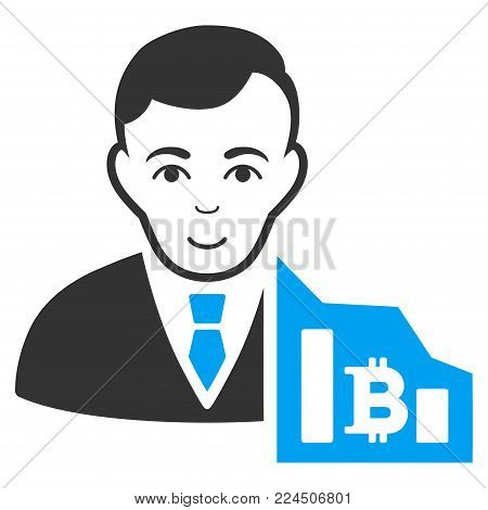Bitcoin Trader vector pictograph. Style is flat graphic bicolor symbol, blue and gray colors, white background.