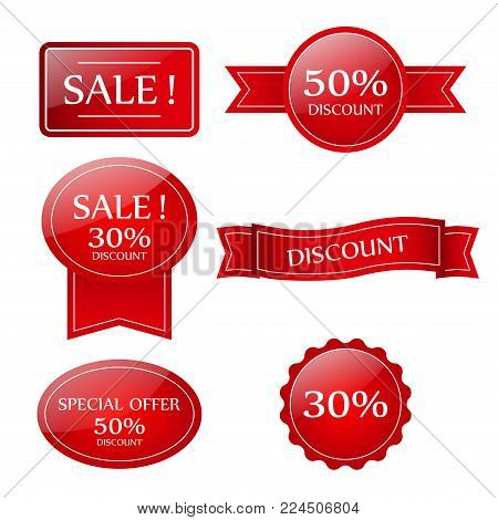 Sale vector banner.  Sale sticker.Special offer sale sticker in flat style. Discount tag. Special offer banner. Sale sign.Web sale sticker.Sale label.Sale sticker template. Design of ad offer.Sale.