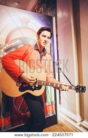 London, United Kingdom - August 24, 2017:  Elvis Presley in Madame Tussauds wax museum in London