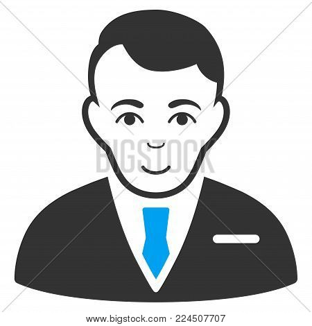 Businessman vector pictograph. Style is flat graphic bicolor symbol, blue and gray colors, white background.