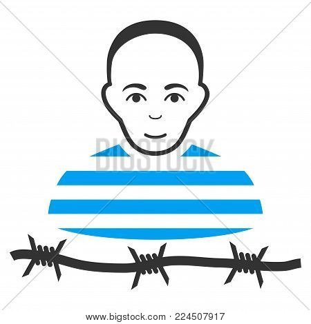 Camp Prisoner vector pictograph. Style is flat graphic bicolor symbol, blue and gray colors, white background.