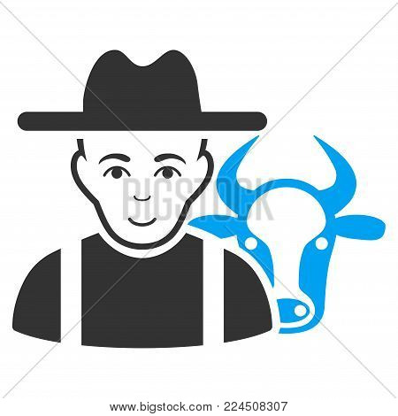 Cattle Farmer vector icon. Style is flat graphic bicolor symbol, blue and gray colors, white background.