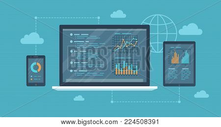 Online auditing, analysis  concept. Web and mobile service. Financial reports, charts graphs on screens of a laptop, phone, tablet. Business background banner. Vector illustration
