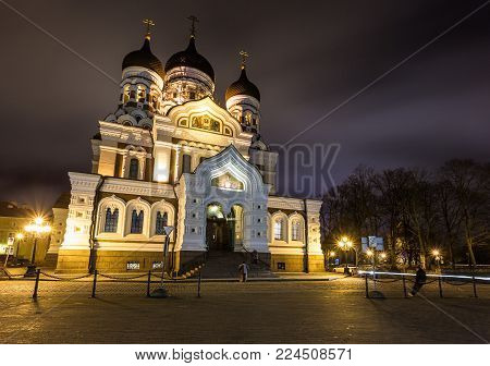 Alexander Nevsky Cathedral, Orthodox Cathedral In The Tallinn Old Town, Estonia.