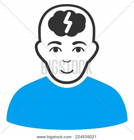 Clever Boy vector pictograph. Style is flat graphic bicolor symbol, blue and gray colors, white background. poster