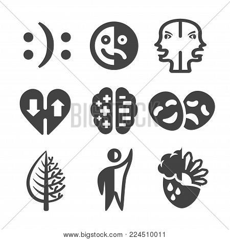 bipolar icon set disorder icon vector illustration