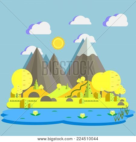 Flat design nature landscape vector illustration of scenic mountains, lake, cloudy sky, meadow, sun and trees. Scenery nature landscape of mountain.
