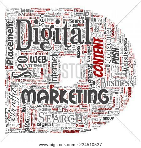 Concept or conceptual digital marketing seo traffic letter font D word cloud isolated background. Collage of business, market content, search, web push placement or communication technology