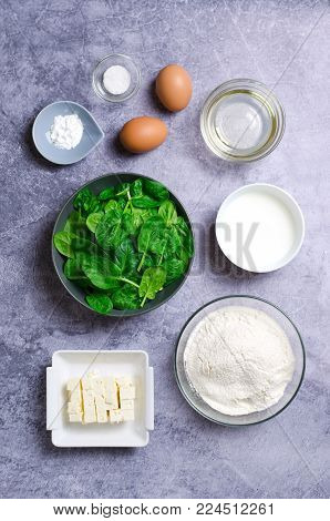 Ingredients For Preparation of Spinach and Feta Muffins: Spinach, Flour, Oil, Eggs, Feta