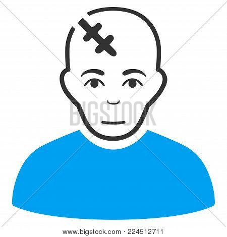 Head Hurt vector icon. Style is flat graphic bicolor symbol, blue and gray colors, white background.