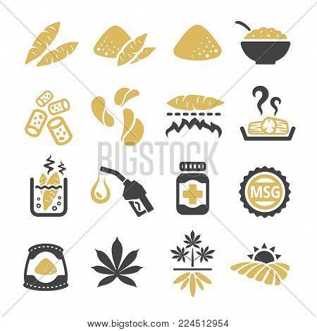 cassava icon set food icon vector illustration