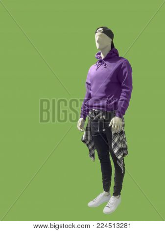 Full-length man mannequin dressed in lightweight hoodie with kanga pocket, isolated. No brand names or copyright objects.