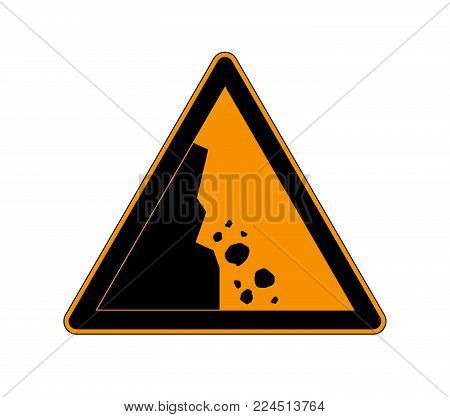 Danger falling stones icon. Falling rocks warning traffic road sign. Vector illustration caution danger of falling isolated a white background.
