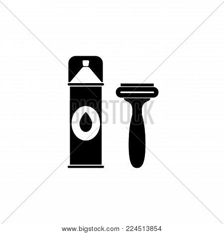 foam and razor for shaving icon. Bathroom and sauna element icon. Premium quality graphic design. Signs, outline symbols collection icon for websites, web design, mobile app, info graphics on white background