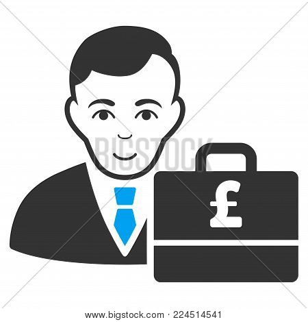 Pound Sterling Accounter vector pictograph. Style is flat graphic bicolor symbol, blue and gray colors, white background.