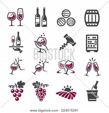 wine icon set drinking icon vector illustration