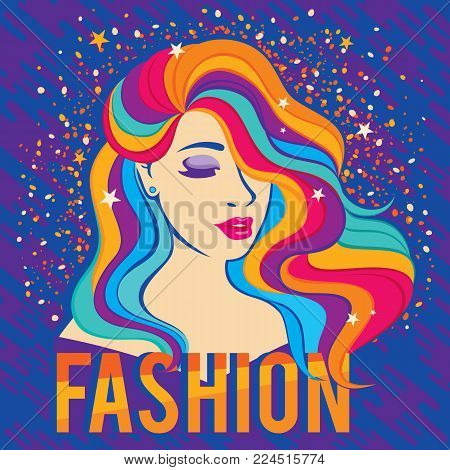 Bright colorful poster with fashion quote and fashion beautiful woman style 80's - 90's. Vector illustration