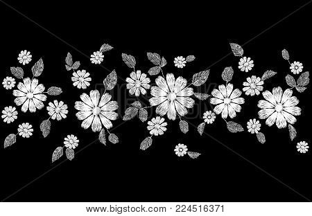White lace flower embroidery seamless border. Fashion decoration stitched texture template. Ethnic traditional daisy field plant leaves textile print design vector illustration art